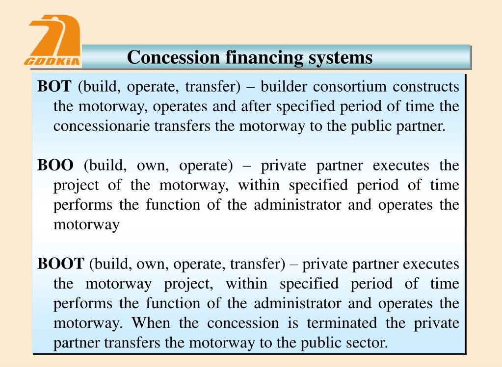 Concession financing systems