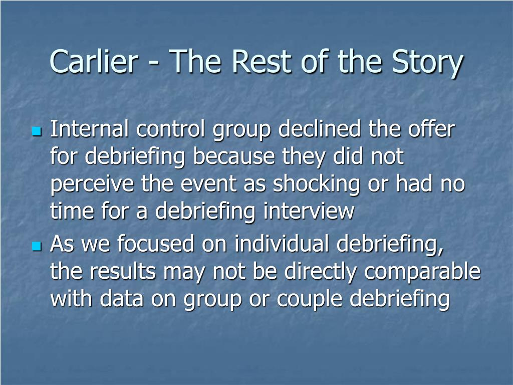 Carlier - The Rest of the Story