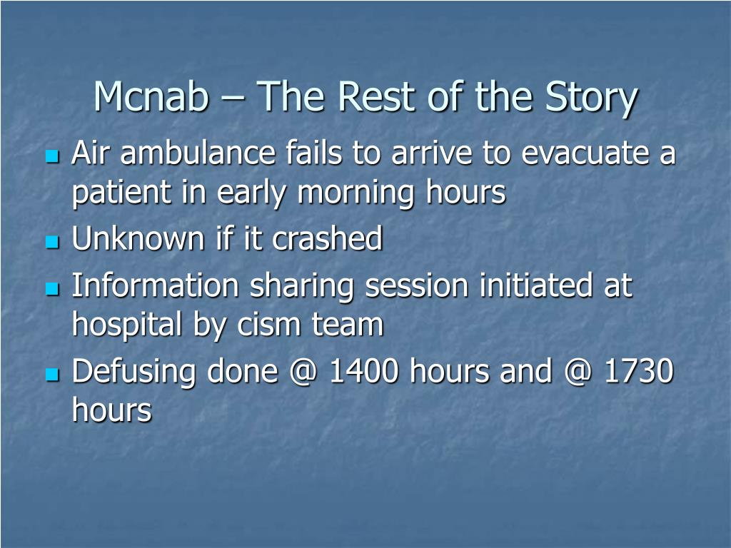 Mcnab – The Rest of the Story
