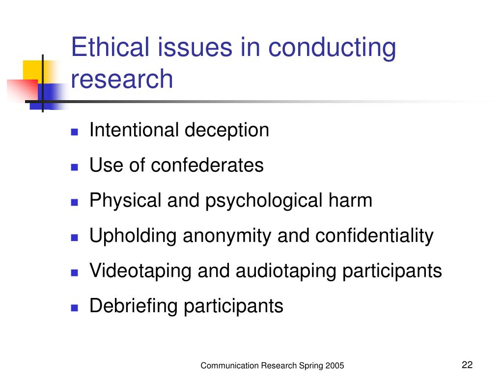 Ethical issues in conducting research