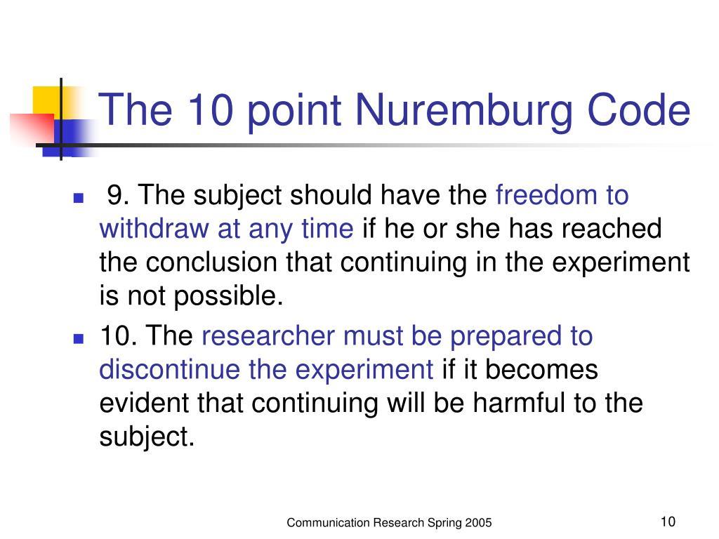 The 10 point Nuremburg Code
