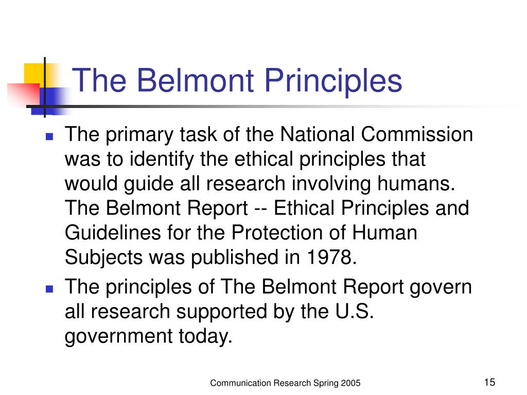 The Belmont Principles