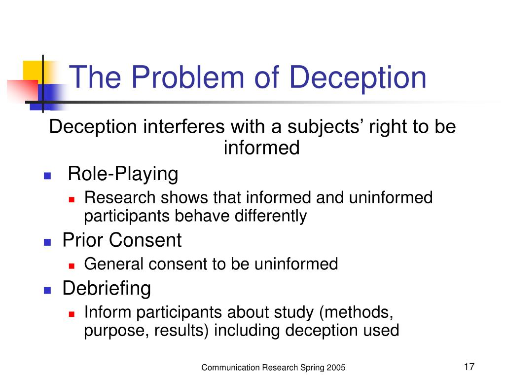 The Problem of Deception