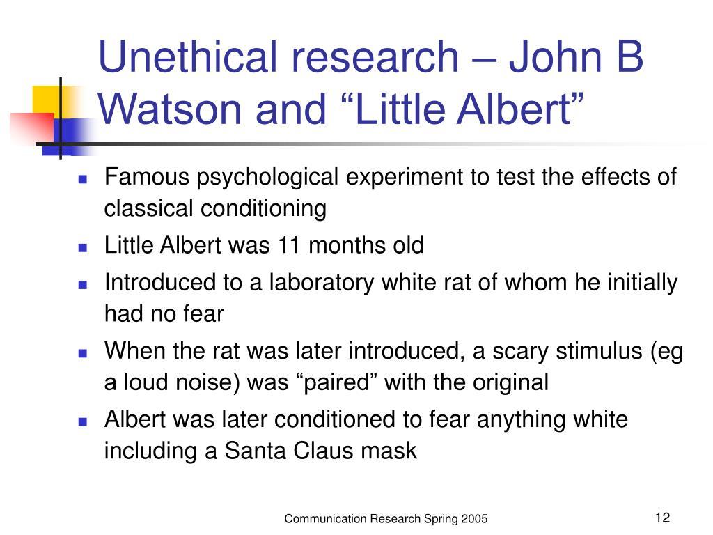 "Unethical research – John B Watson and ""Little Albert"""