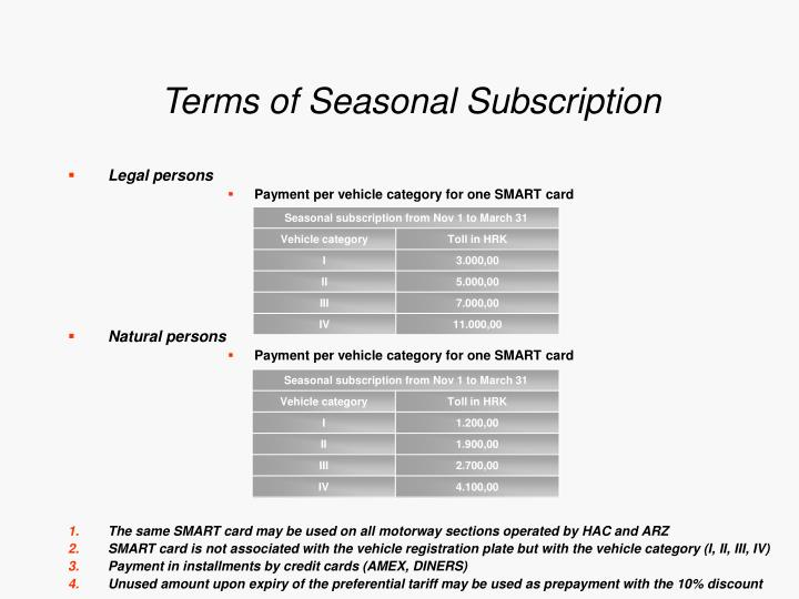 Terms of Seasonal Subscription