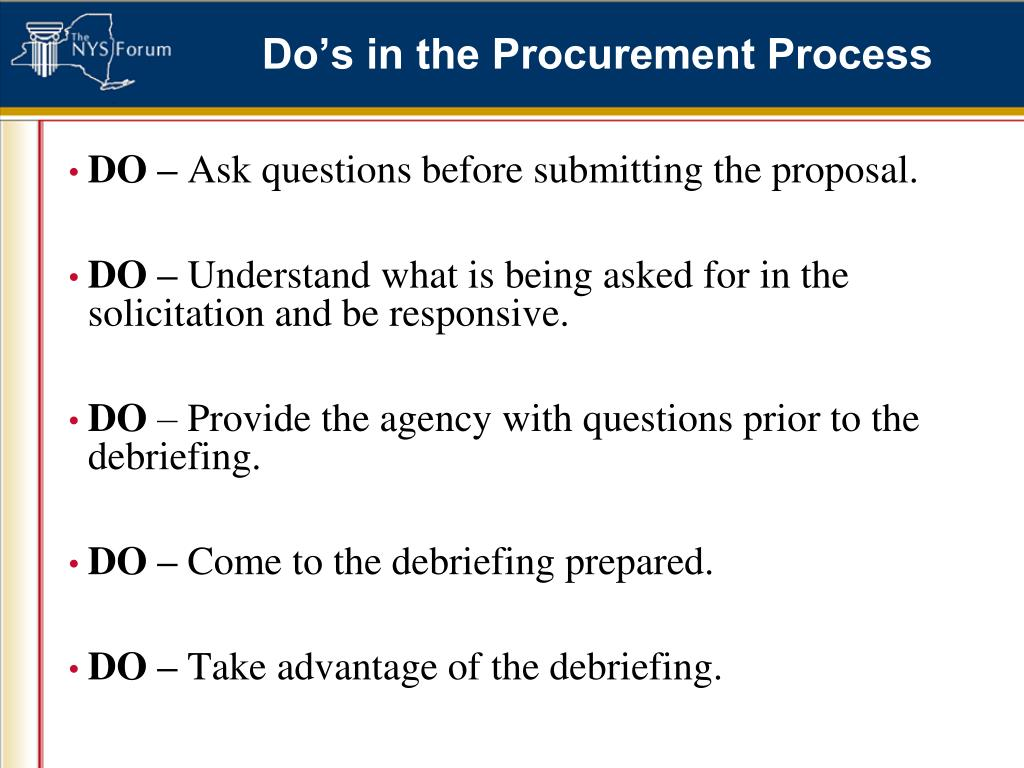 Do's in the Procurement Process