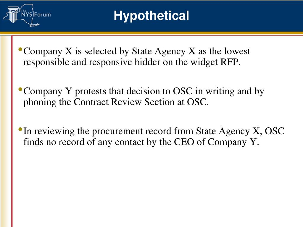 Company X is selected by State Agency X as the lowest responsible and responsive bidder on the widget RFP.