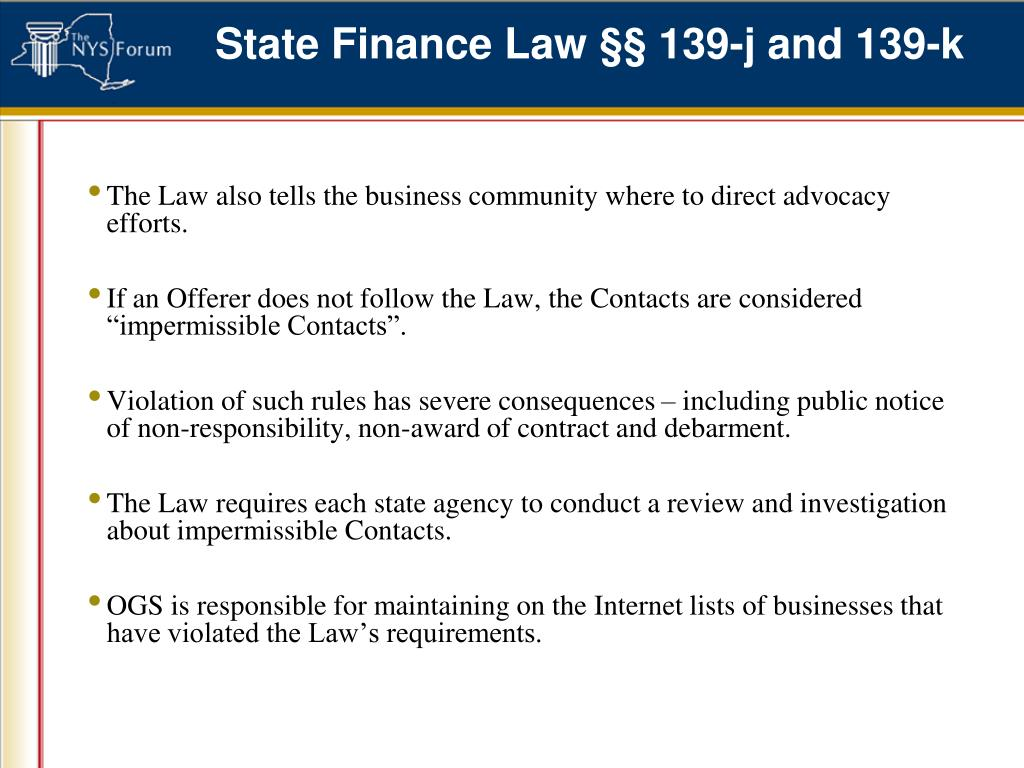 State Finance Law §§ 139-j and 139-k
