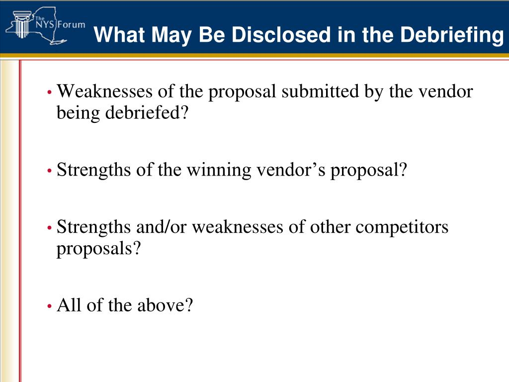 What May Be Disclosed in the Debriefing