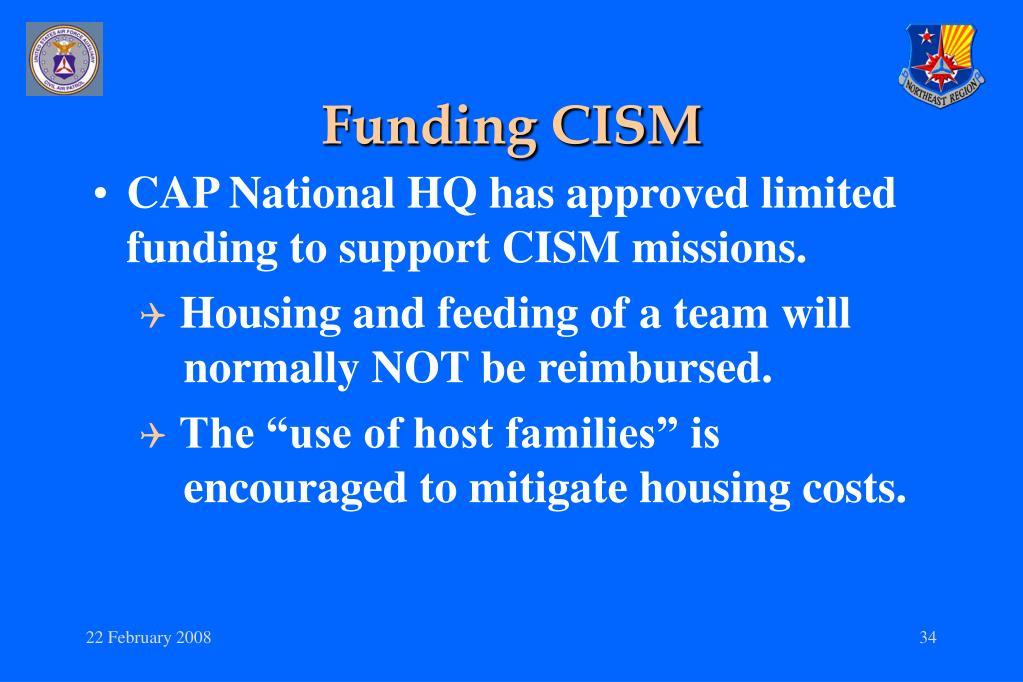 Funding CISM