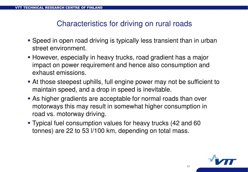 Characteristics for driving on rural roads