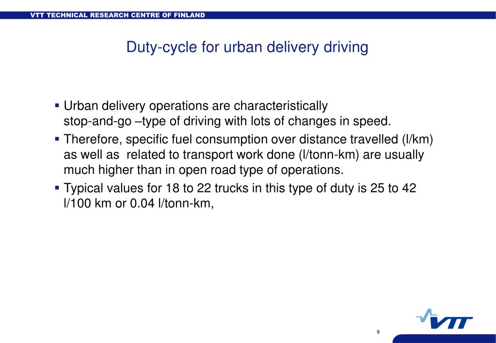 Duty-cycle for urban delivery driving