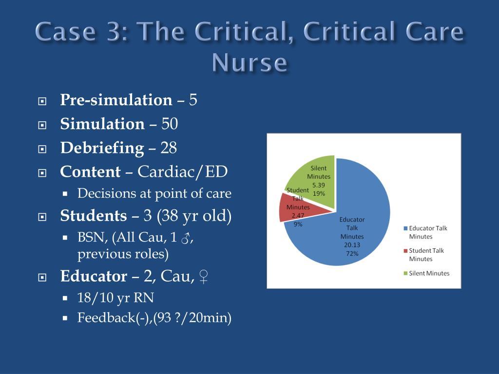 Case 3: The Critical, Critical Care Nurse