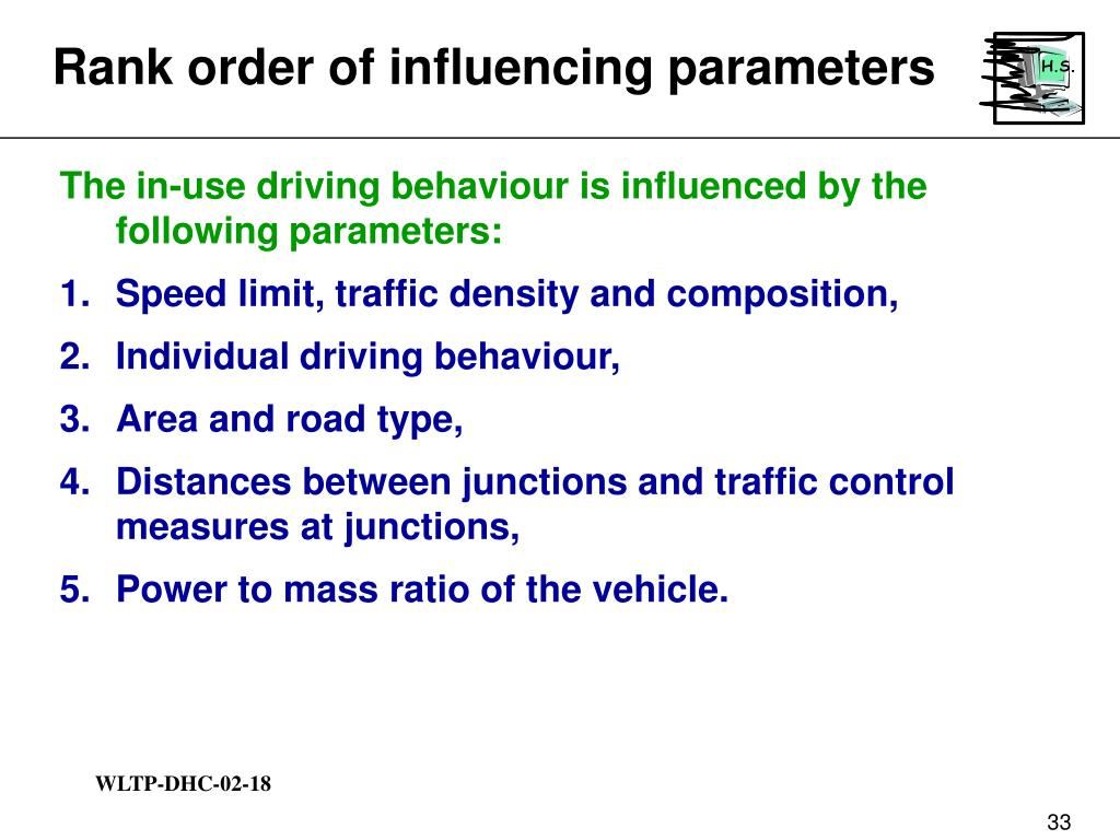 Rank order of influencing parameters