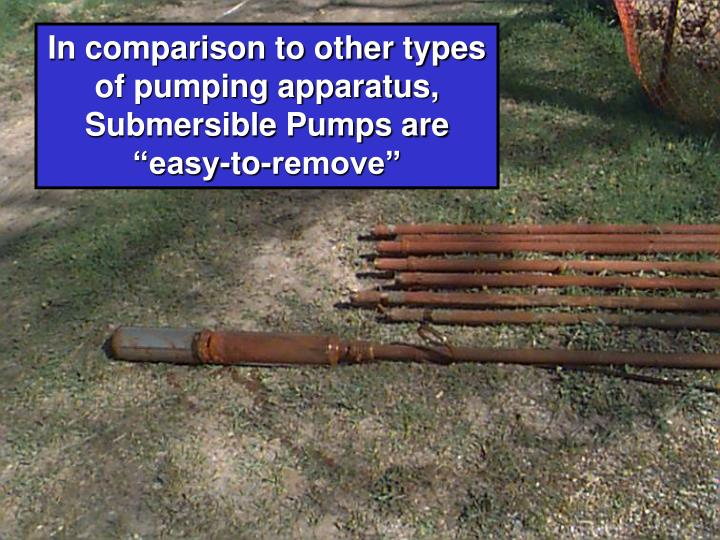 "In comparison to other types of pumping apparatus, Submersible Pumps are ""easy-to-remove"""