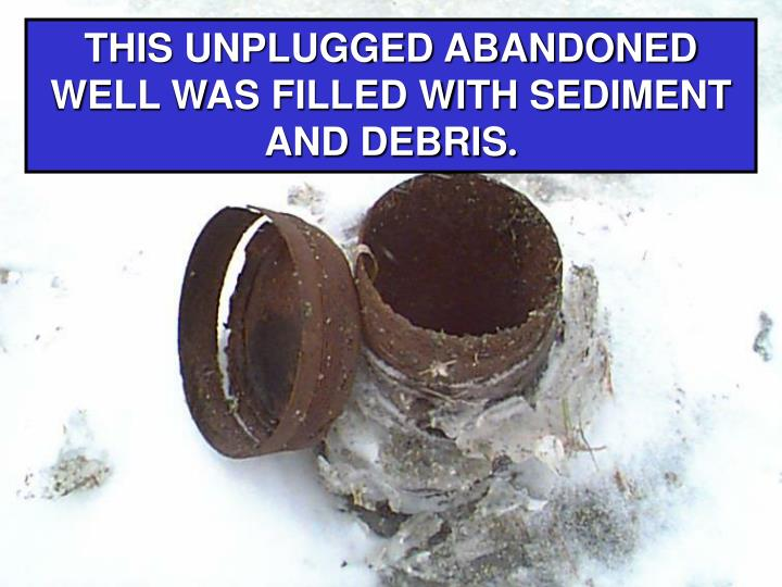THIS UNPLUGGED ABANDONED WELL WAS FILLED WITH SEDIMENT AND DEBRIS