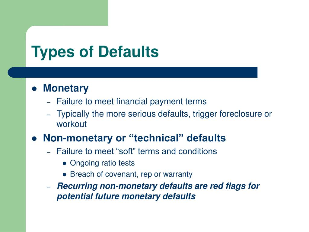 Types of Defaults