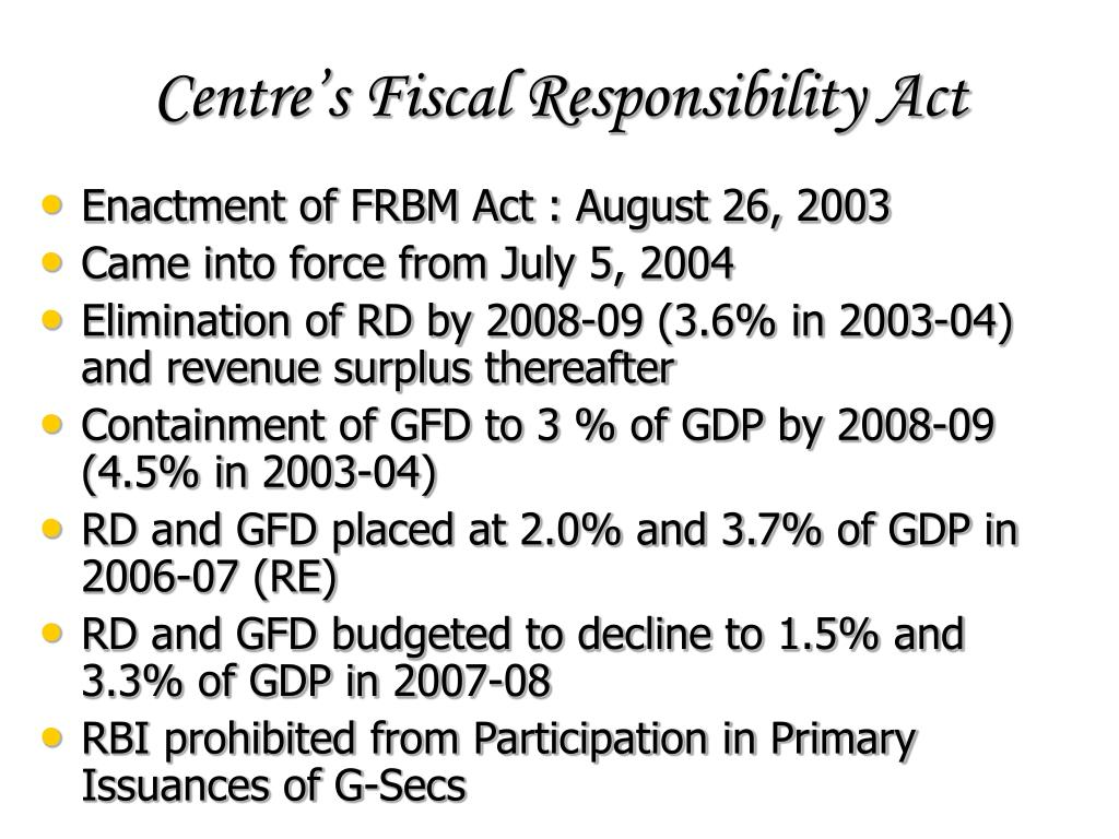 Centre's Fiscal Responsibility Act