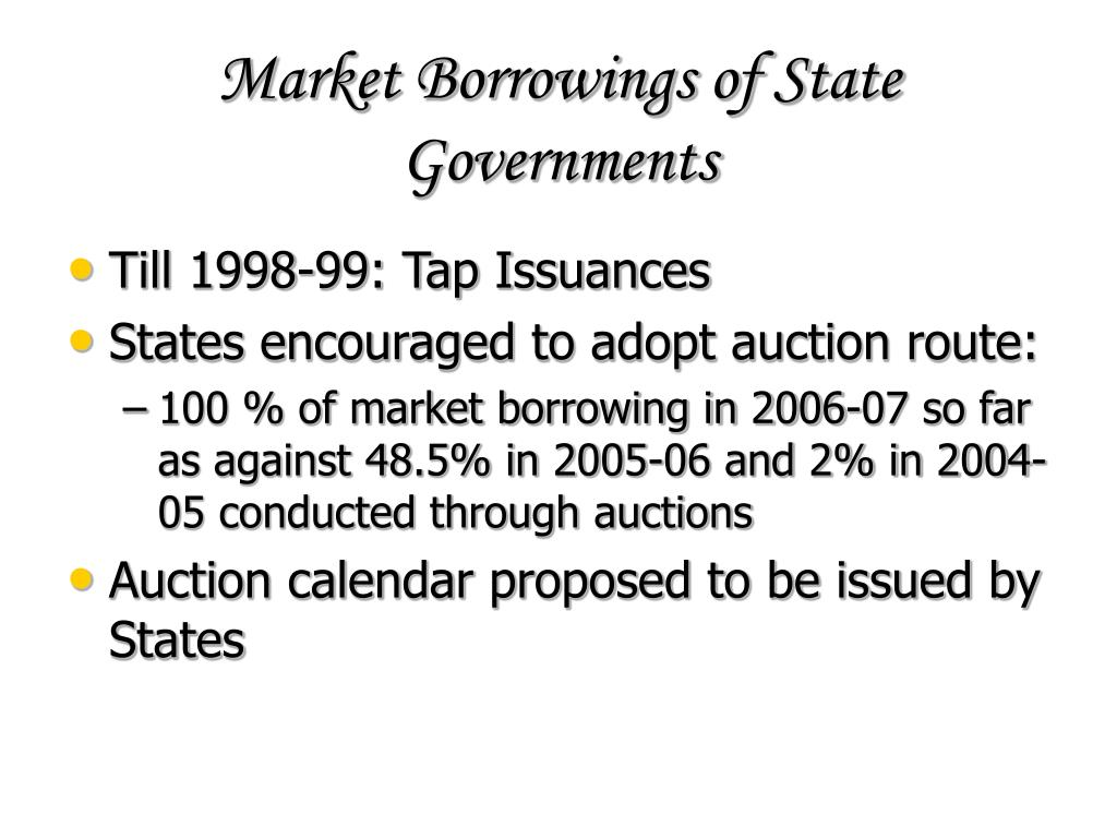 Market Borrowings of State Governments