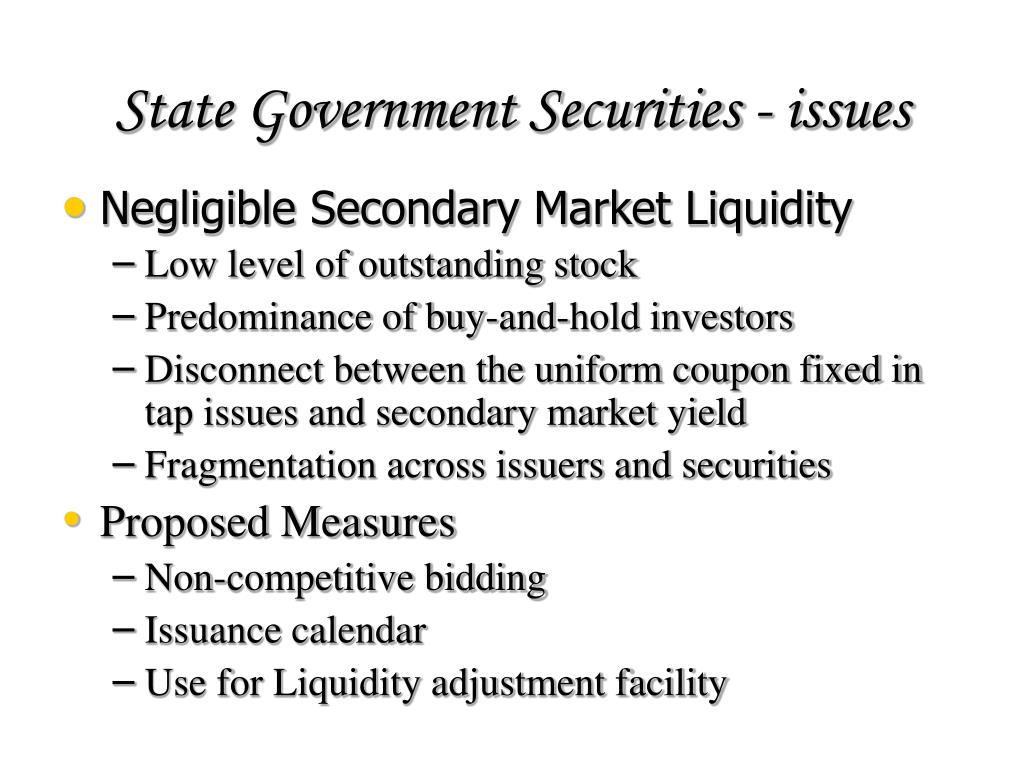 State Government Securities - issues