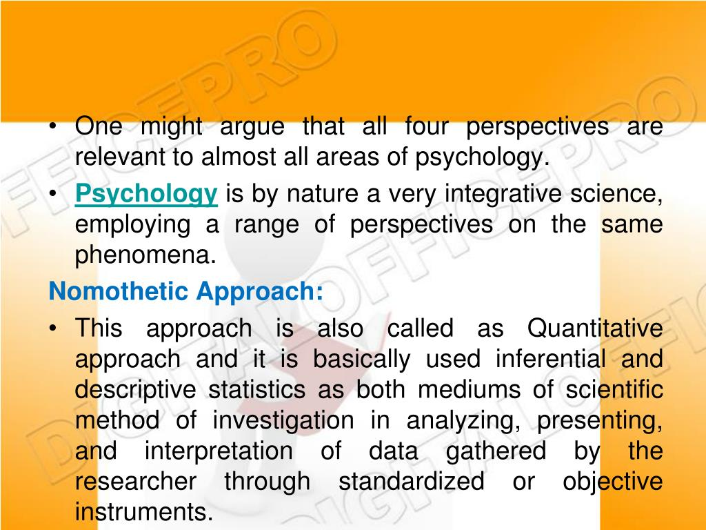 One might argue that all four perspectives are relevant to almost all areas of psychology.