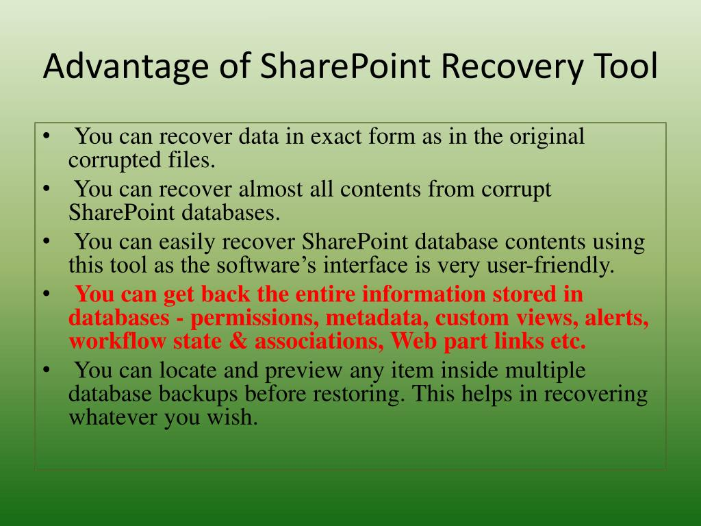 Advantage of SharePoint Recovery Tool