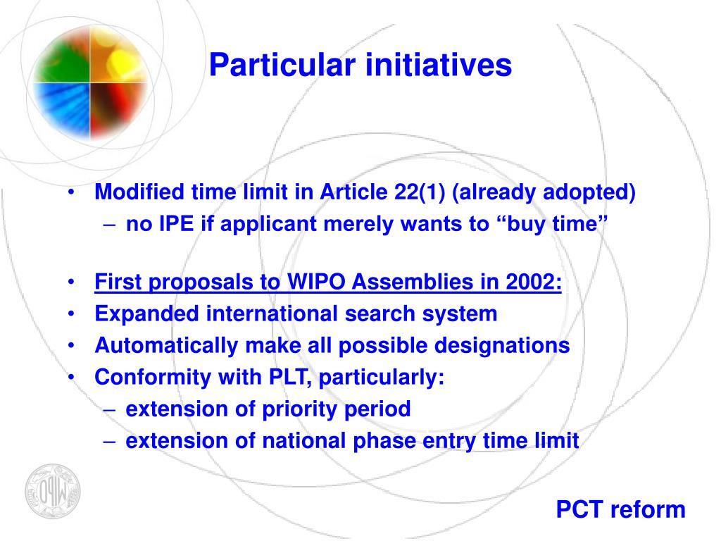 Particular initiatives