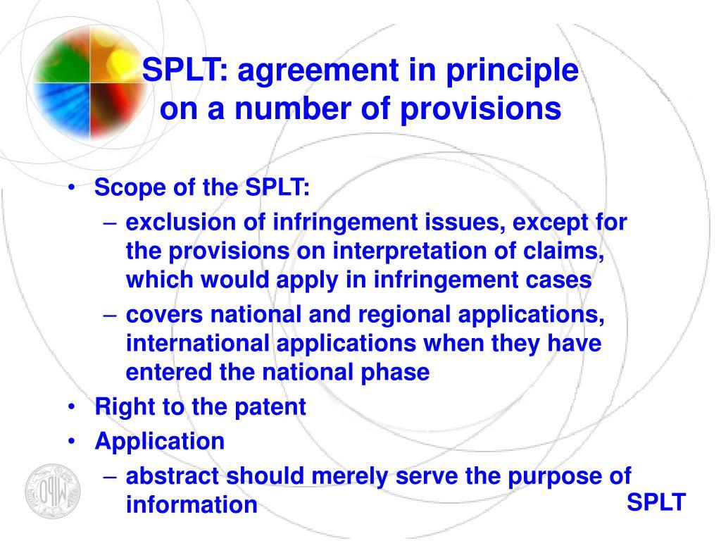 SPLT: agreement in principle