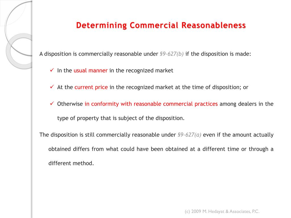 Determining Commercial Reasonableness