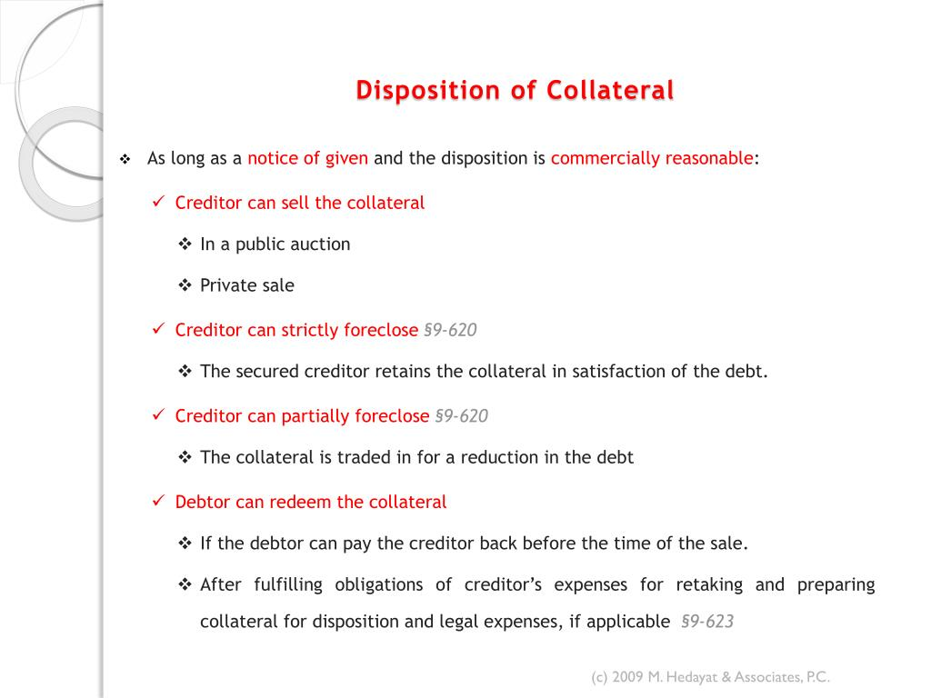 Disposition of Collateral