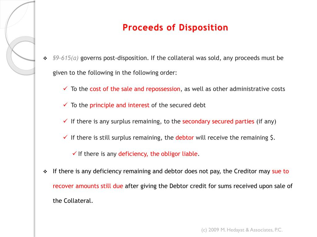 Proceeds of Disposition
