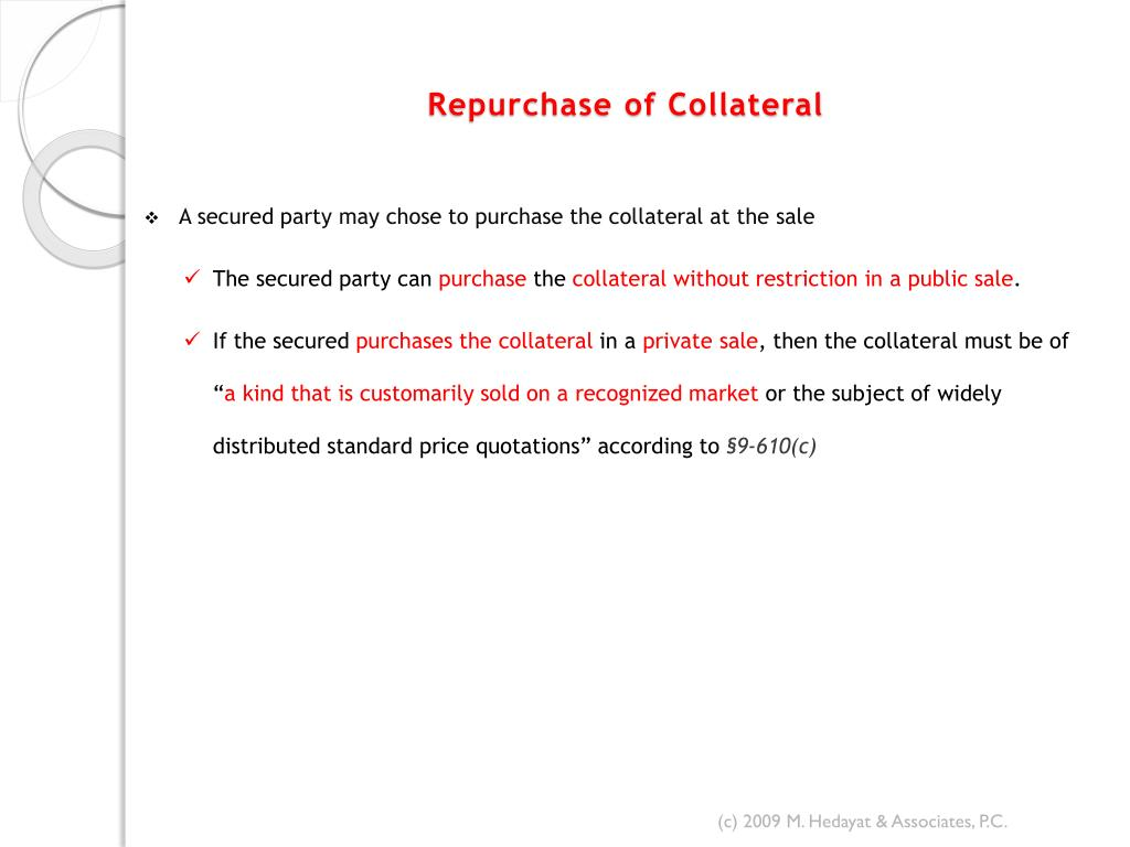 Repurchase of Collateral
