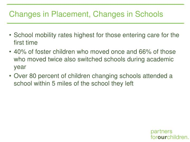 Changes in Placement, Changes in Schools