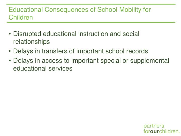 Educational Consequences of School Mobility for Children