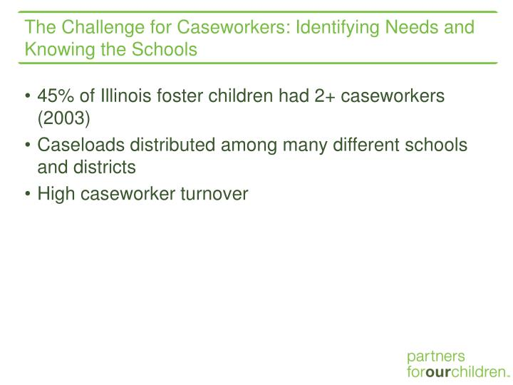 The Challenge for Caseworkers: Identifying Needs and Knowing the Schools