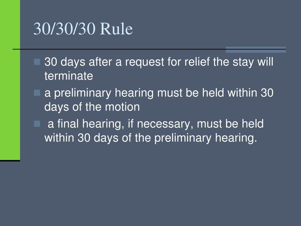 30/30/30 Rule