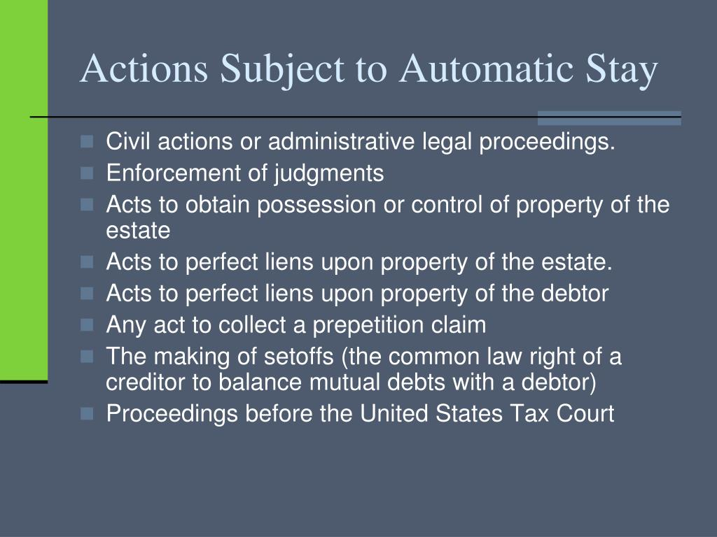 Actions Subject to Automatic Stay