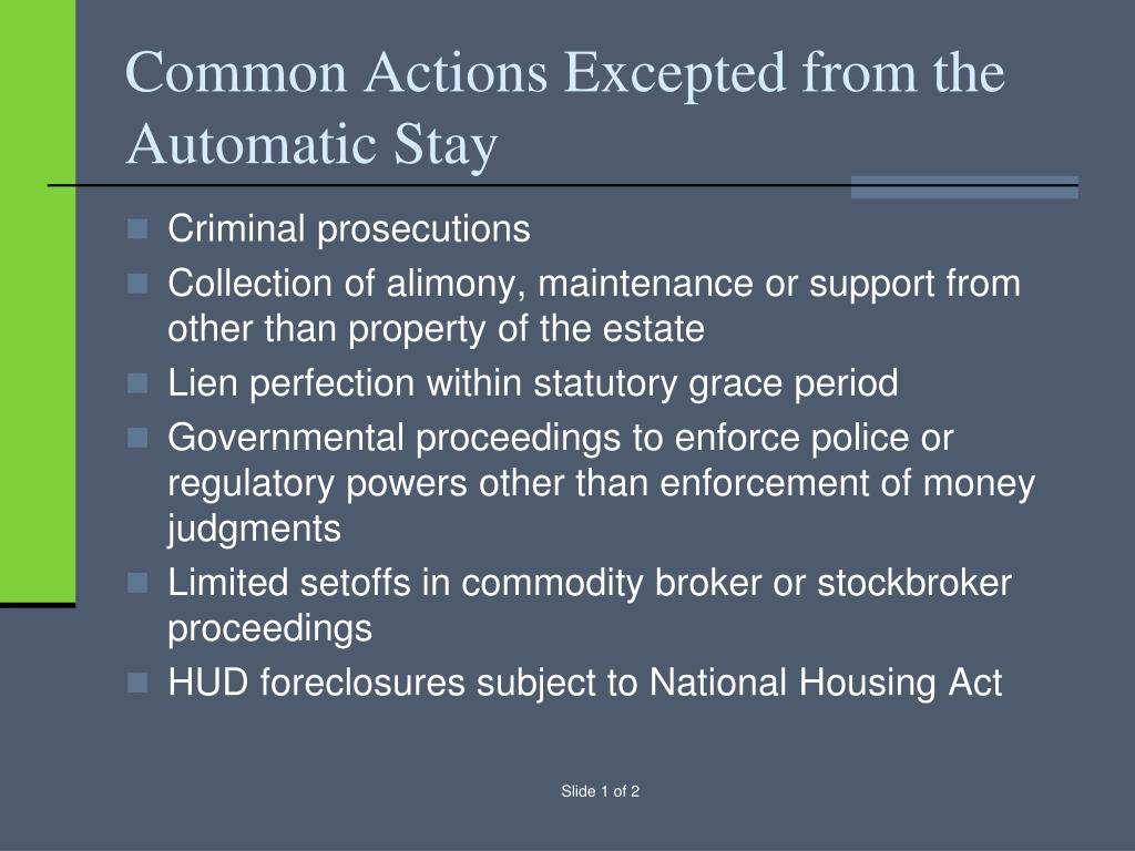 Common Actions Excepted from the Automatic Stay