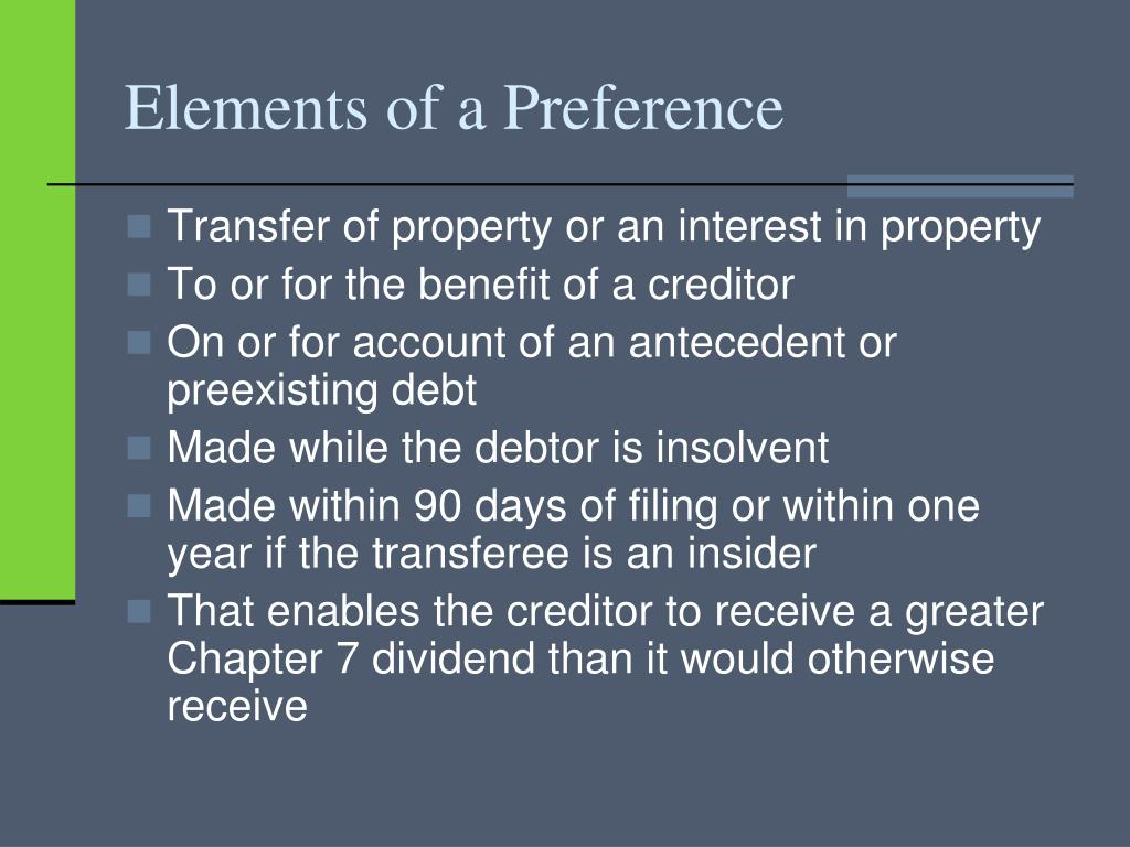 Elements of a Preference
