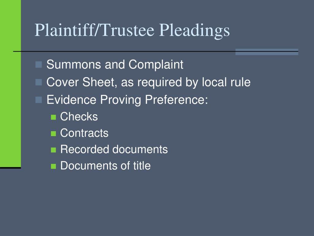 Plaintiff/Trustee Pleadings