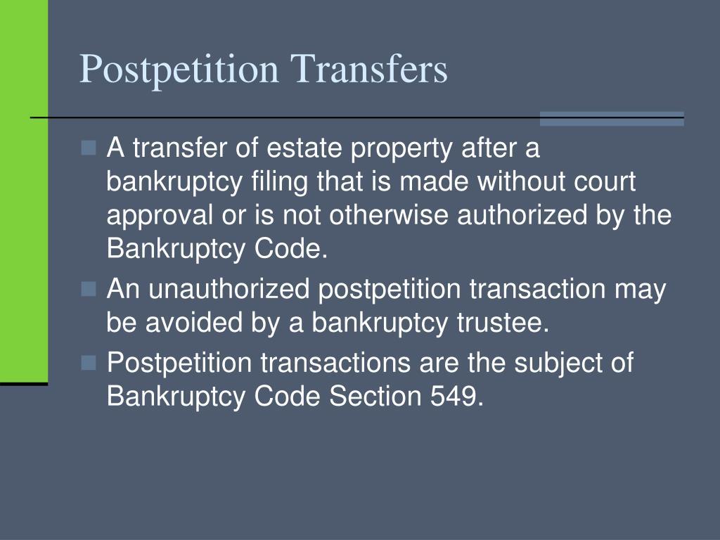 Postpetition Transfers