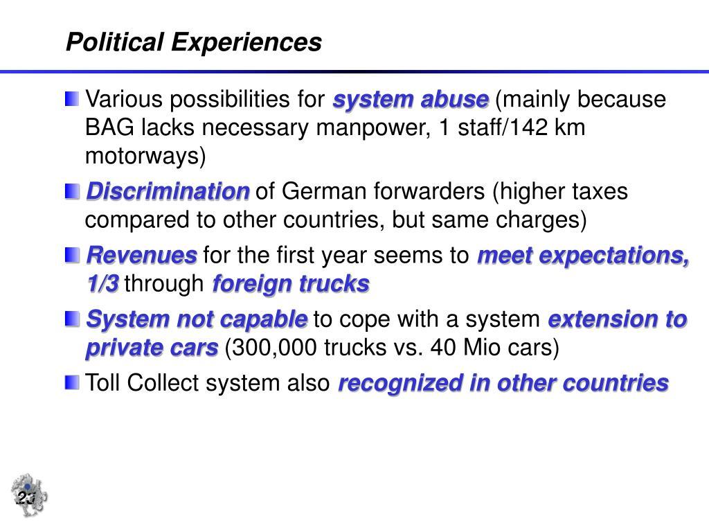 Political Experiences