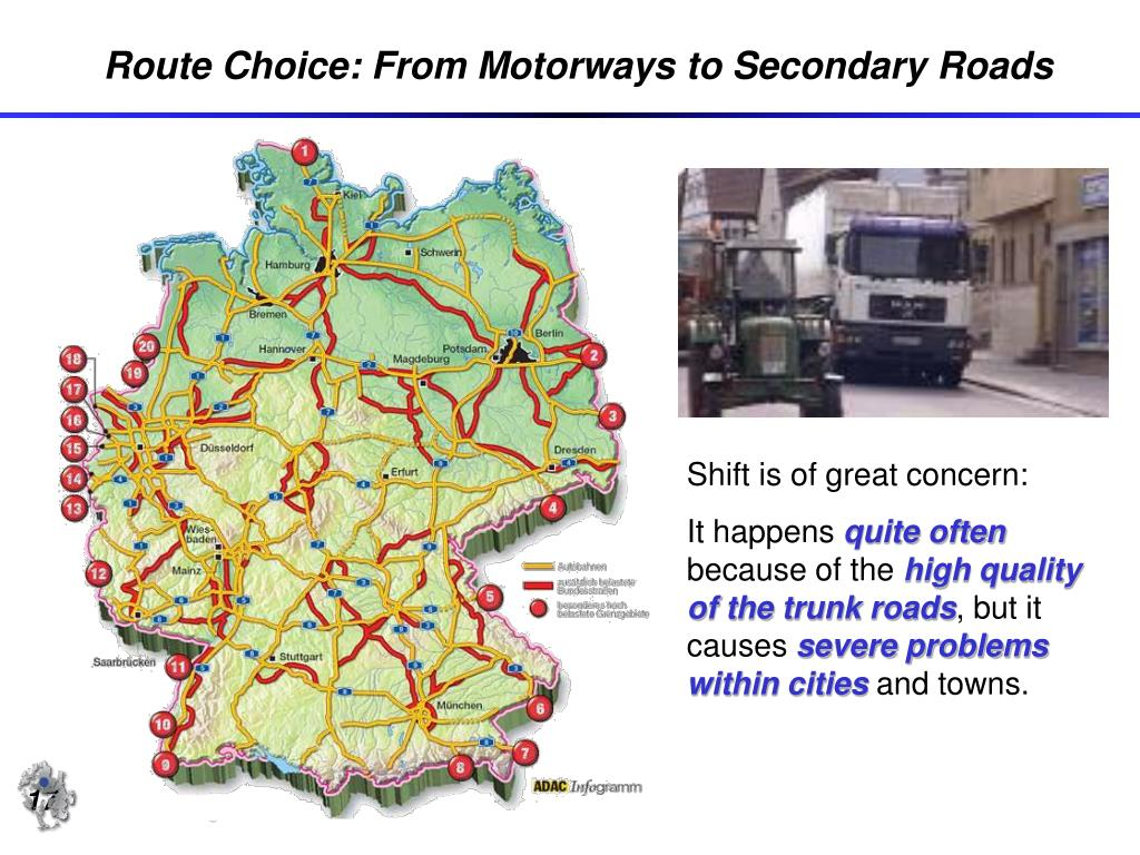 Route Choice: From Motorways to Secondary Roads