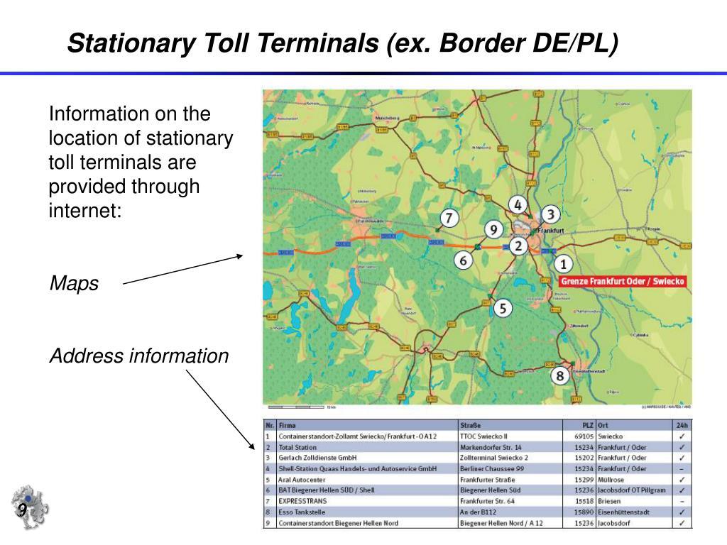 Stationary Toll Terminals (ex. Border DE/PL)
