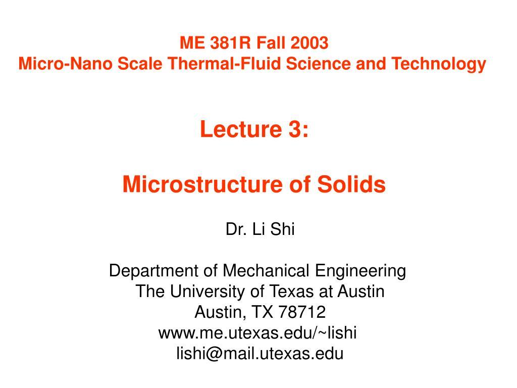 ME 381R Fall 2003