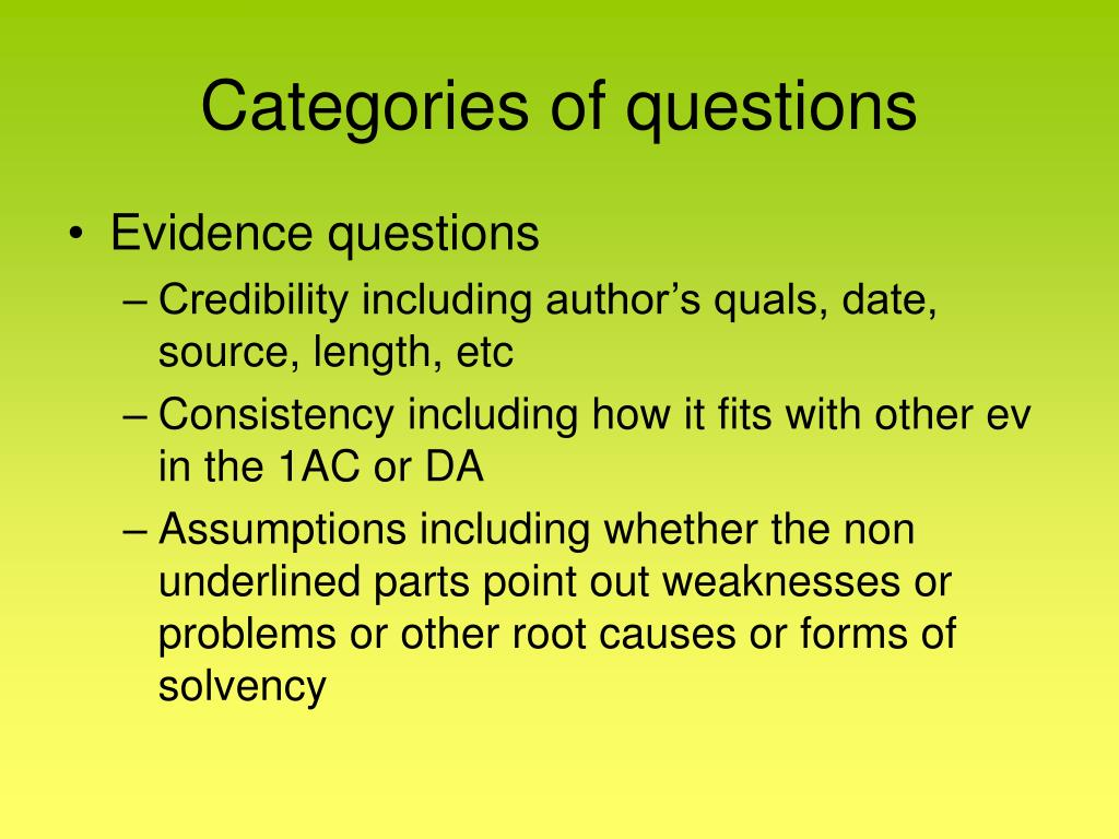Categories of questions