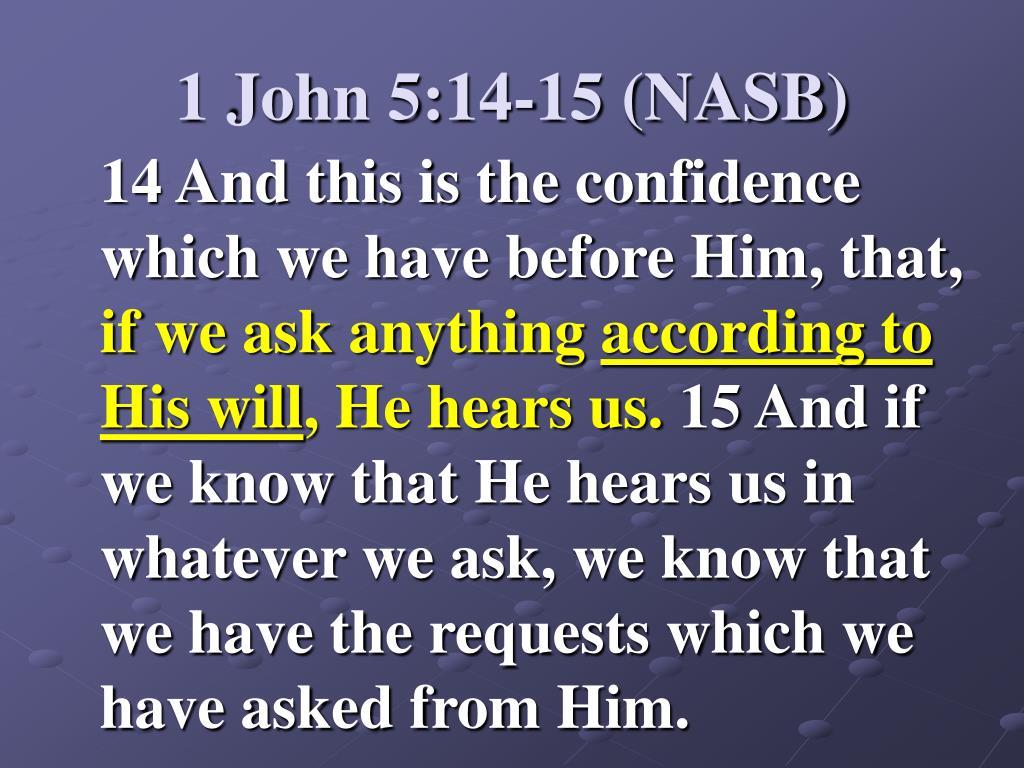 1 John 5:14-15 (NASB)