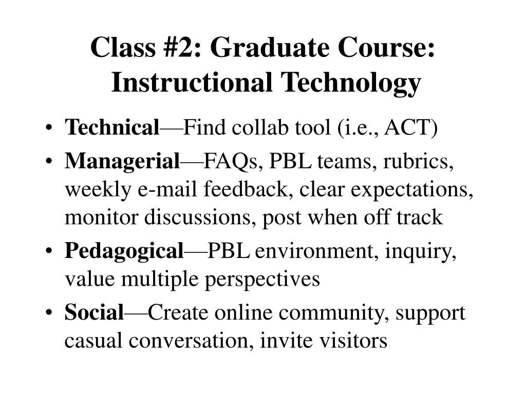 Class #2: Graduate Course: