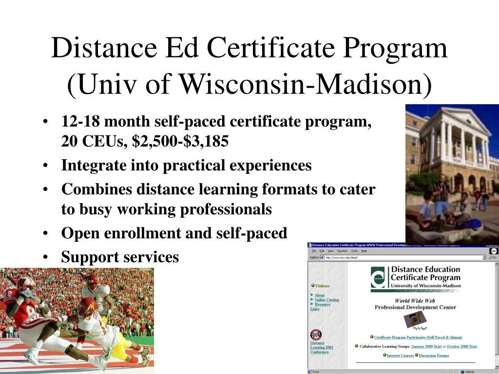 Distance Ed Certificate Program (Univ of Wisconsin-Madison)