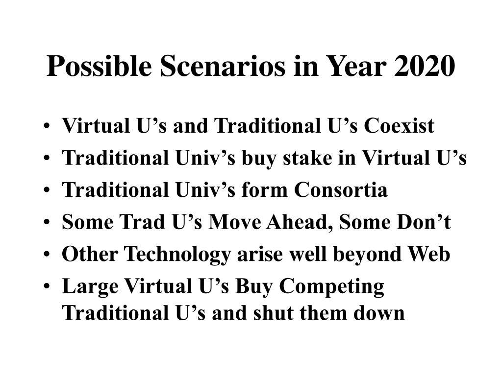 Possible Scenarios in Year 2020